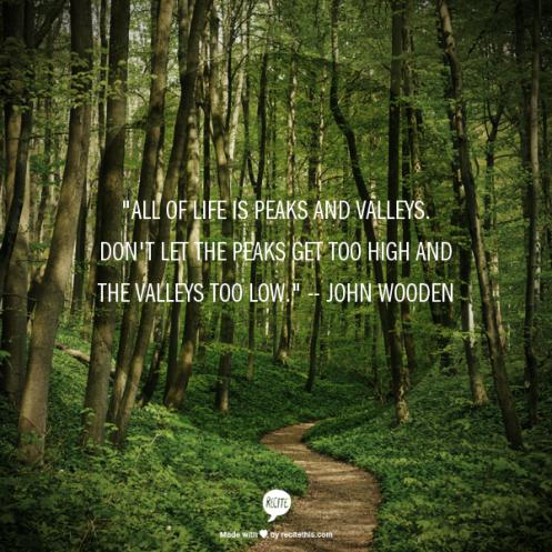 wooden quote peaks valleys