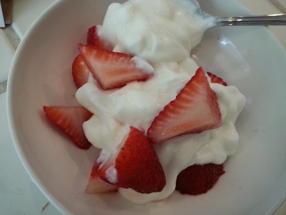 strawberries and yogurt