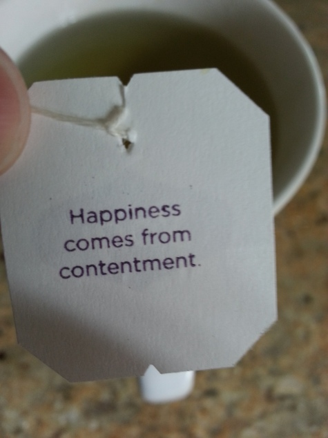 A timely reminder from my Yogi green tea bag! Happiness comes from being contented with what you have.