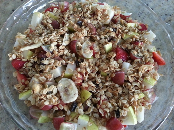 fruit cobbler with granola topping