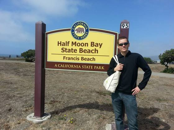 al half moon bay beach sign