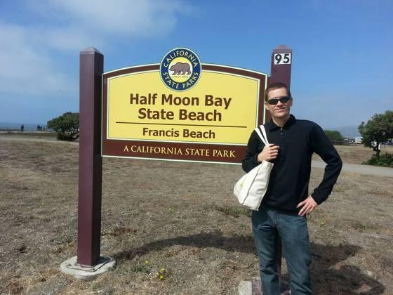 al half moon bay beach sign