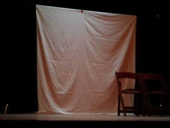 The stage right before the lights dimmed and my play began!