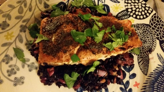 Friday night's dinner: Mexican spiced salmon with black rice