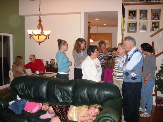 Holiday gathering of family and friends, circa early 2000s